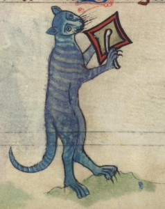 A 13th century cat breating a cymbal from the margins of The book of hours